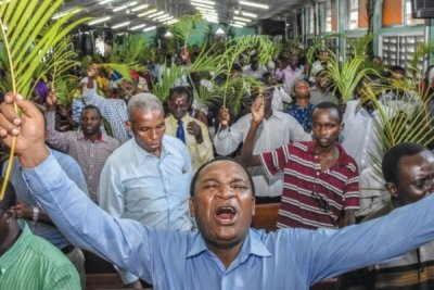 Palm Sunday service held in Tanzania during the Covid-19 pandemic. Getty Images